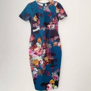 Asos maternity body con floral midi dress size 6